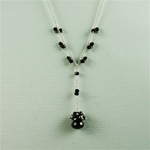 Onyx Drop Silver Necklace