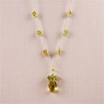 Lemon Quartz Silver Drop Necklace