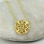 Gold Floral Dish Necklace