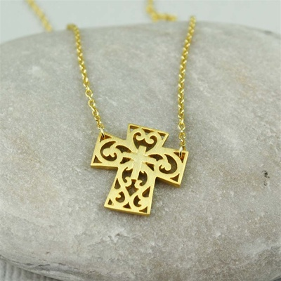 Gold Floral Cross Necklace