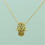 Gold Floral Hamsa Necklace