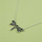 Silver Floral Dragonfly Necklace