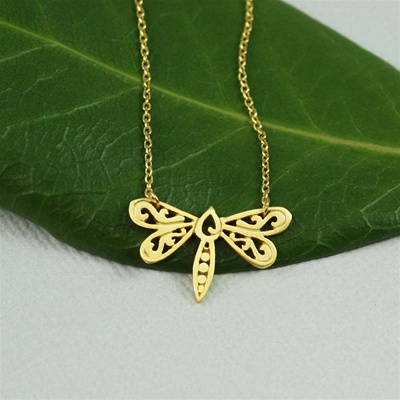 Gold Floral Dragonfly Necklace