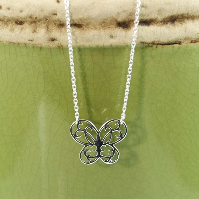 Silver Floral Butterfly Necklace