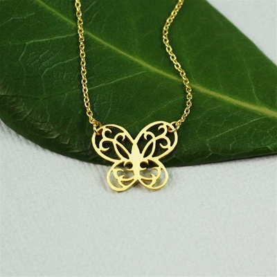 Gold Floral Butterfly Necklace