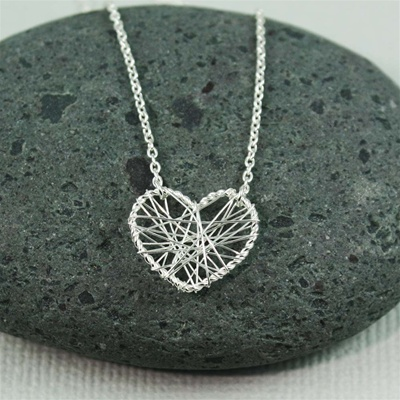 Silver Wire Wrapped Heart Necklace
