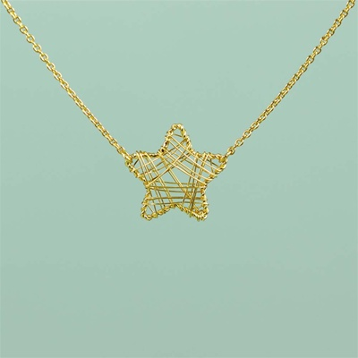 Gold Wire Wrapped Star Necklace