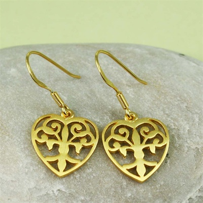 Gold Floral Heart Earrings