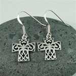 Silver Floral Cross Earrings
