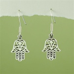 Silver Floral Hamsa Earrings