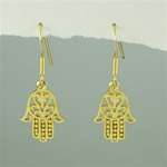 Gold Floral Hamsa Earrings