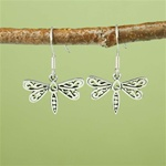 Silver Floral Dragonfly Earrings