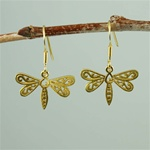 Gold Floral Dragonfly Earrings