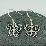 Silver Floral Butterfly Earrings