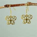 Gold Floral Butterfly Earrings