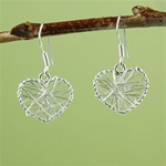 Silver Wire Wrapped Heart Earrings