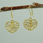 Gold Wire Wrapped Heart Earrings