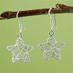 Silver Wire Wrapped Star Earrings