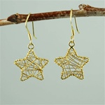Gold Wire Wrapped Star Earrings