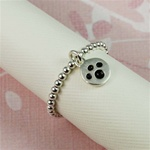 Silver Paw Print Beaded Band Ring