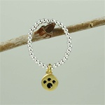 Gold Paw Print Beaded Band Ring