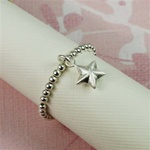 Silver Star Beaded Band Ring