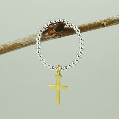 Gold Cross Beaded Band Ring