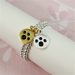 Two Tone Paw Print Stackable Ring