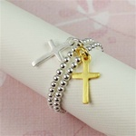 Two Tone Cross Stackable Ring