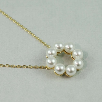 Gold Pearl Ring Necklace