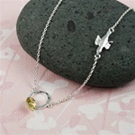 Silver Ring Gold Leaf Necklace