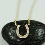 Gold Horseshoe with Crystal Necklace