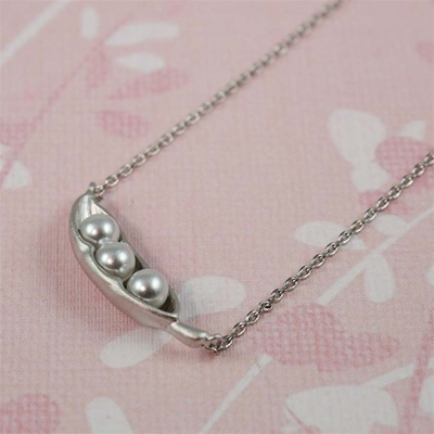 Silver Snow Peas Necklace