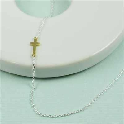 Gold Sideways Cross Necklace