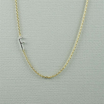 Silver Initial F Necklace