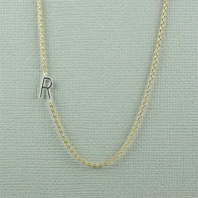 Silver Initial R Necklace