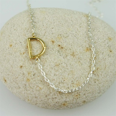 Gold Initial D Necklace
