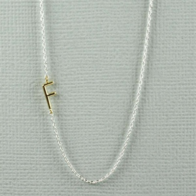 Gold Initial F Necklace