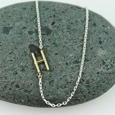 Gold Initial H Necklace