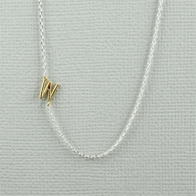 Gold Initial W Necklace