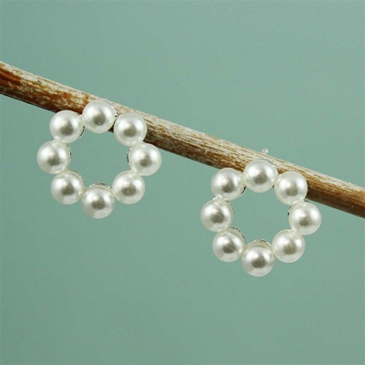 Silver Pearl Ring Earrings