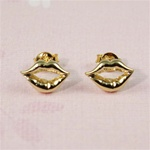 Gold Lips Earrings