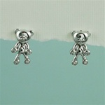 Silver Teddy Bear Earrings