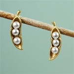 Gold Snow Peas Earrings