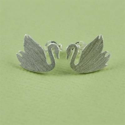 Silver Swan Earrings