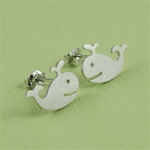 Silver Whale Earrings