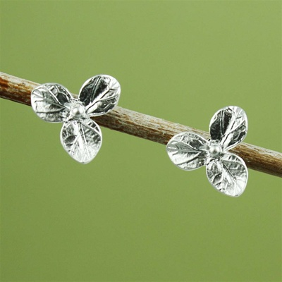 Silver Hydrangea Earrings