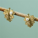 Gold Leaf Pearl Earrings