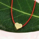Red Silk Cord Gold Heart Necklace