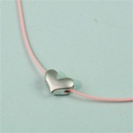 Pink Silk Cord Silver 3D Heart Necklace